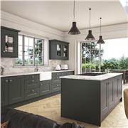 Carrick Shaker Kitchen Doors Fitted in Matt Kombu Green