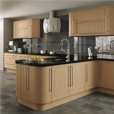 Plain curved kitchen doors order online for Curved kitchen units uk