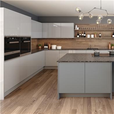 J Line Matt Dust Grey and Super Gloss Grey Kitchen Doors