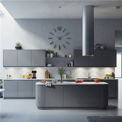 Opus High Gloss Dust Grey Fitted Kitchen