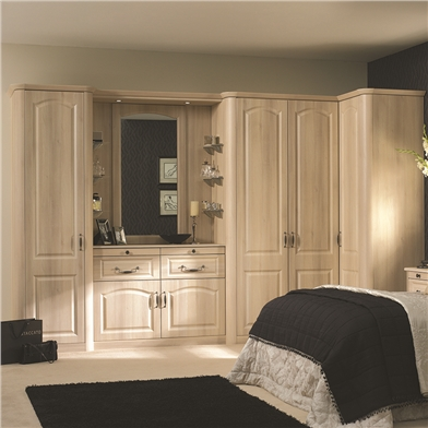 Fitted Bedroom with Bella Canterbury Moldau Acacia Bedroom Doors