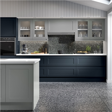 Elland Fitted Kitchen Finished in Light Grey and Indigo Blue