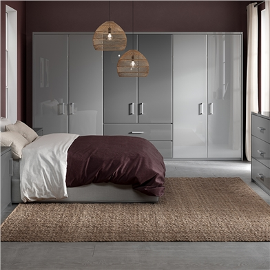 Bella High Gloss Light Grey and Dust Grey Bedroom