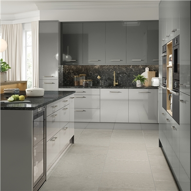 Bella High Gloss Light Grey and Dust Grey Kitchen