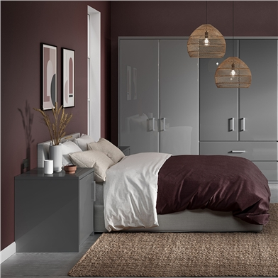 Bella High Gloss Grey Fitted Bedroom with Pisa Design Doors